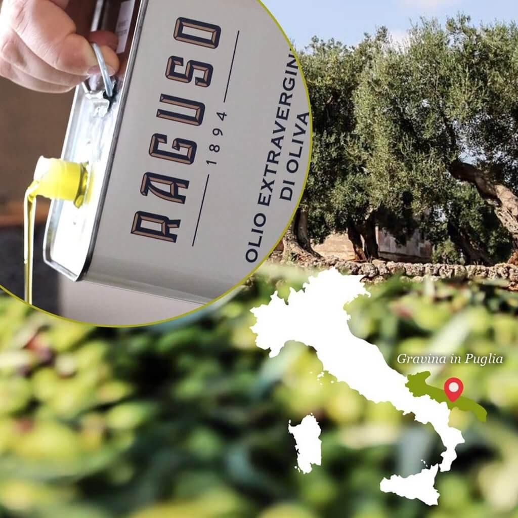 Olio Extravergine d'Oliva di Puglia 100% Italiano - Lattina 5 Litri - Frantoio Raguso
